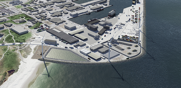 Animation of the port's land expansion