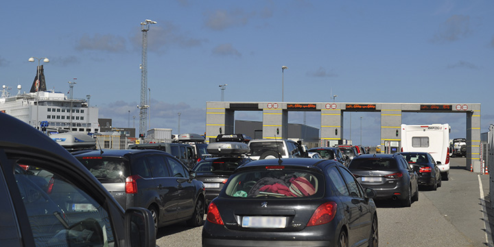 Traffic at one of the ferry terminals