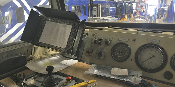 "The ""heart"" of the locomotive - here the driver can monitor all data communication between the signal system and the trains"