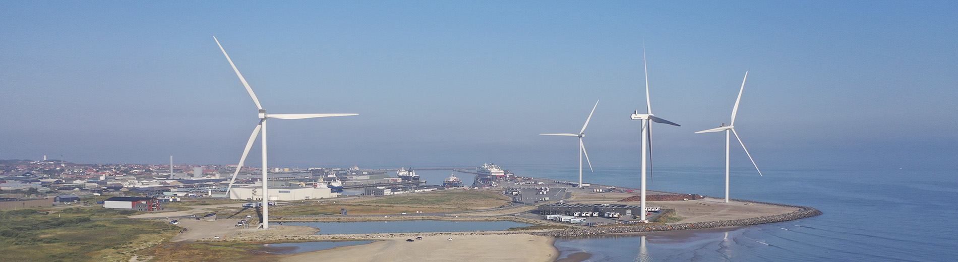 The four Vestas wind turbines at the Port of Hirtshals